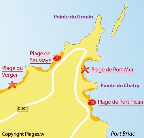 Carte de la plage de Saussaye à Cancale