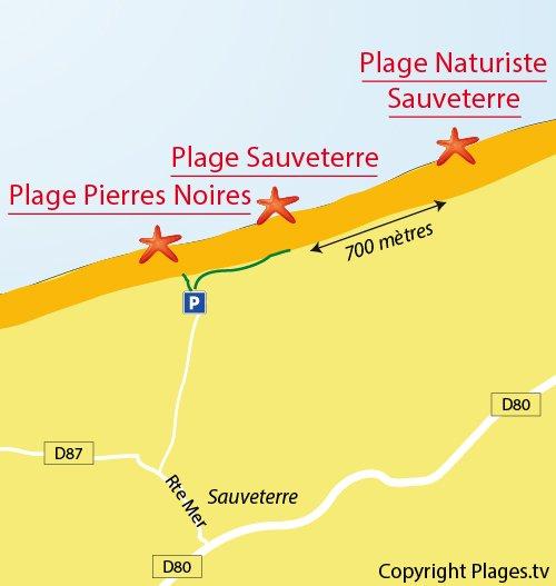 Map of Sauveterre Beach in Olonne sur Mer