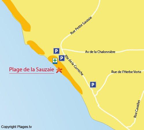 Plan de la plage de Sauzaie à Brétignolles sur Mer
