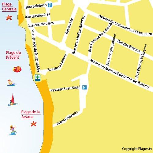 Carte de la plage de la Savane à Capbreton