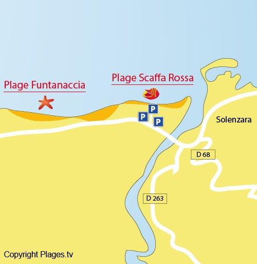 Carte de la plage de Scaffa Rossa à Solaro