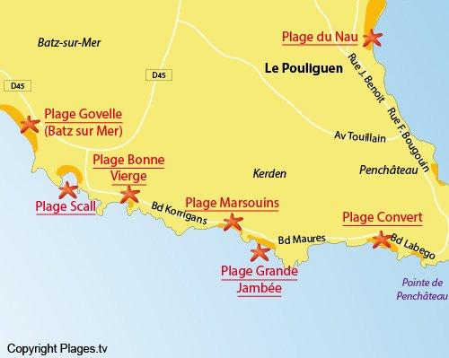 Mappa della Spiaggia della Baia di Scall a Le Pouliguen
