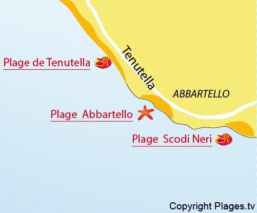 Mappa della Spiaggia Scodi Neri in Corsica
