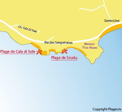 Mappa spiaggia Scudo a Ajaccio - Corsica