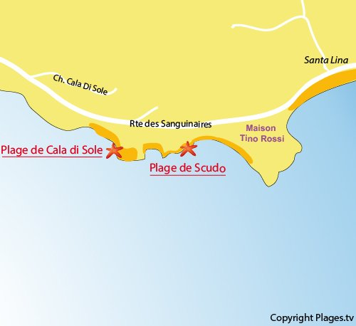 Carte de la plage du Scudo à Ajaccio