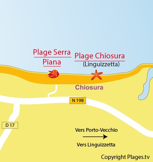 Plan de la plage de Serra Piana à Canale di Verde