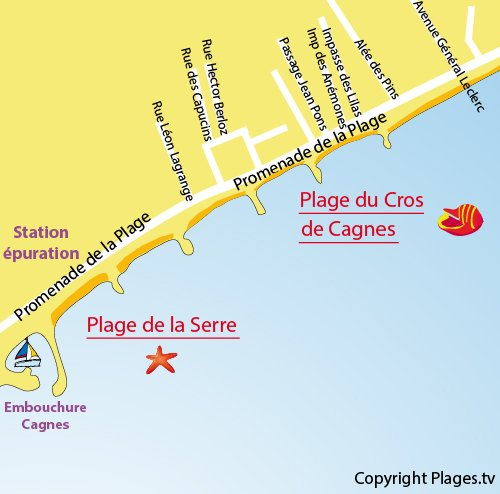 Carte de la plage de la Serre à Cagnes sur Mer