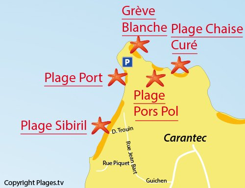 Carte de la plage Sibiril de Carantec