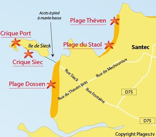 Map of Siec cove in Santec