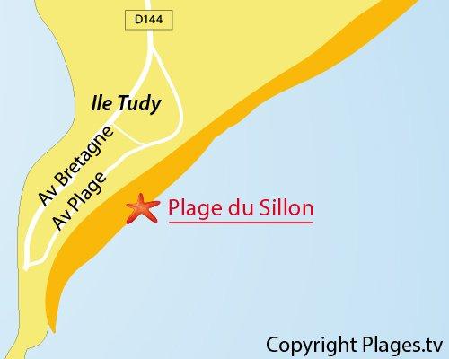 Carte de la plage du Sillon sur l'ile Tudy