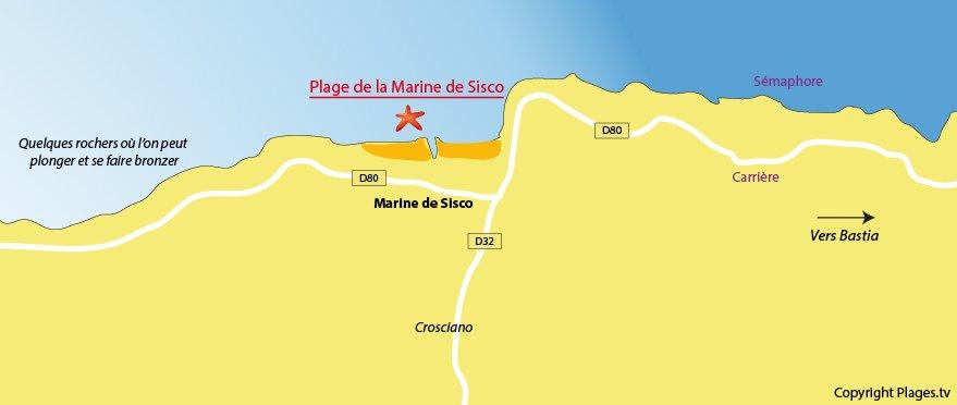 Plan de la plage de Sisco dans le Cap Corse