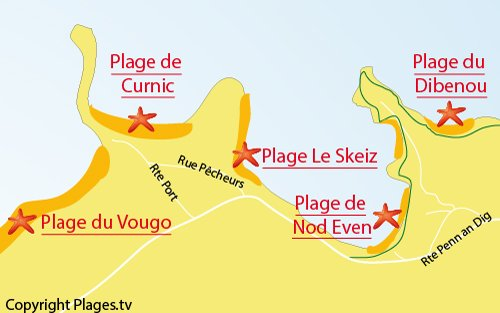 Carte de la plage de Skeiz à Guissény