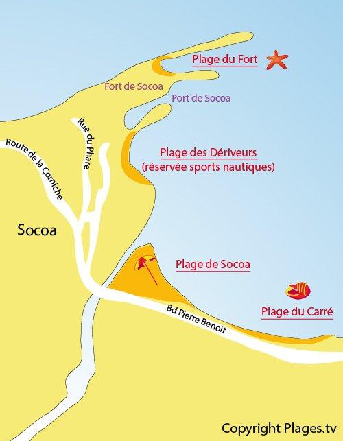 Plan de la plage de Socoa à Ciboure