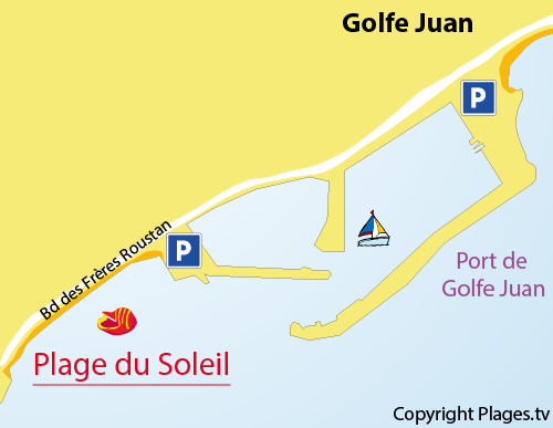 Map of Soleil beach in Golfe Juan