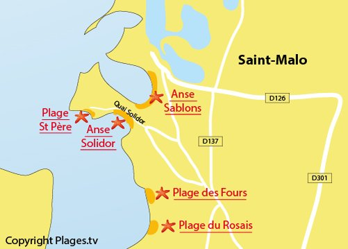 Map of the Solidor Beach in Saint-Malo