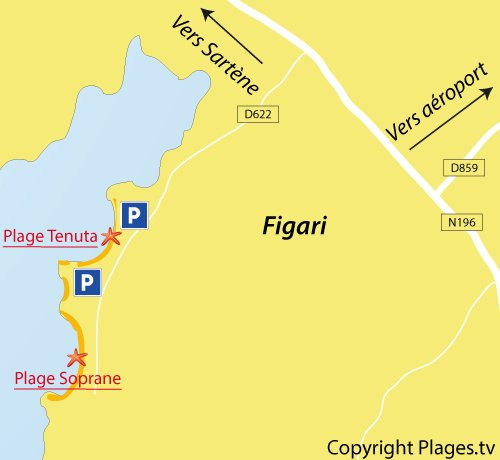 Carte de la plage de Soprane à Figari