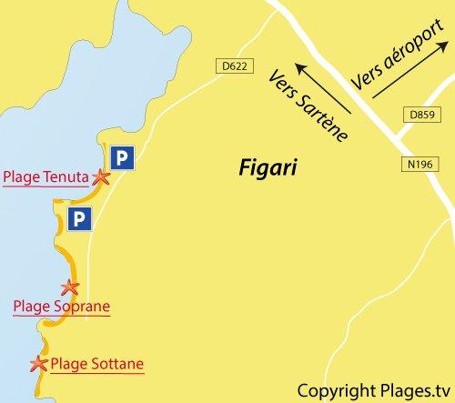 Carte de la plage de Sottane à Figari