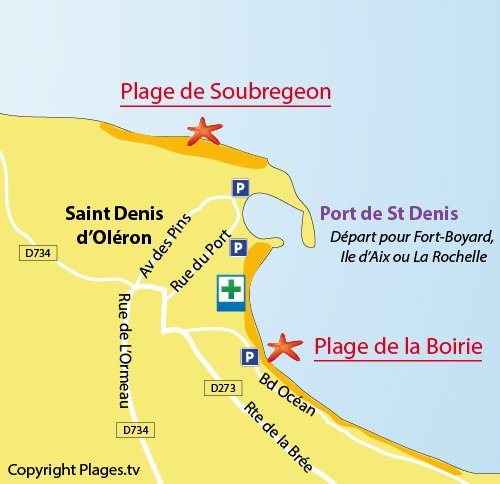 Map of Soubregeon Beach in St Denis d'Oléron