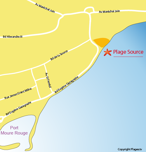 Plan de la plage de la Source à Cannes