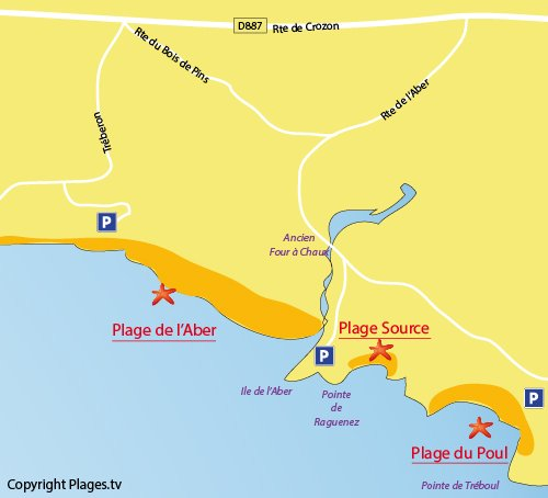 Map of Source Beach in Crozon