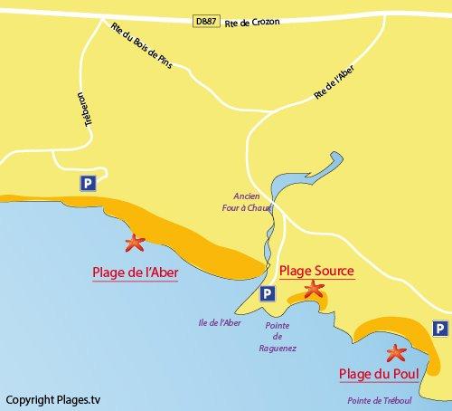 Carte de la plage de la Source à Crozon