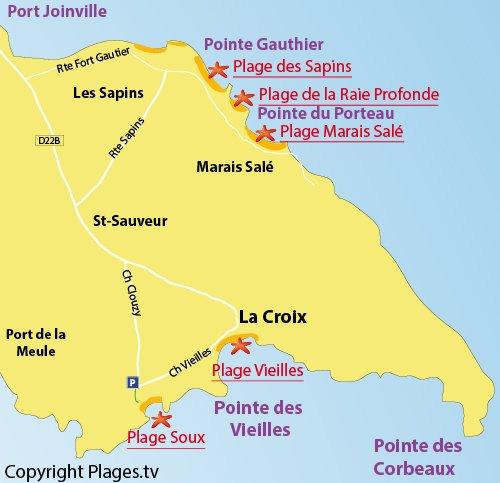 Carte de la plage des Soux sur l'ile d'Yeu