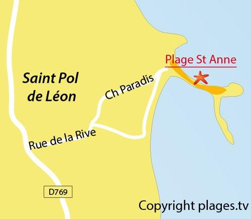 Carte de la plage de St Anne à St Pol de Léon