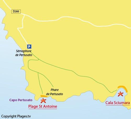Map of St Antoine beach in Bonifacio