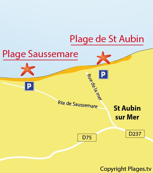 Map of St Aubin sur Mer beach in Normandy