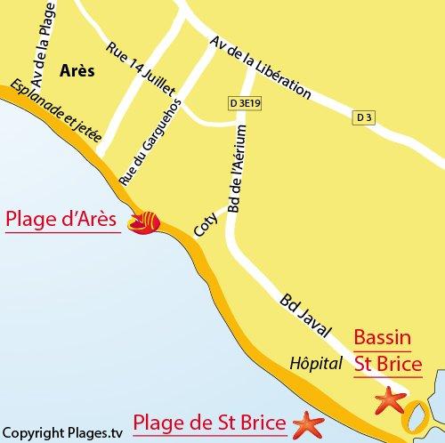 Carte de la plage de St Brice à Arès