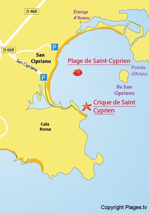 Carte de la plage de Saint Cyprien en Corse (San Ciprianu)