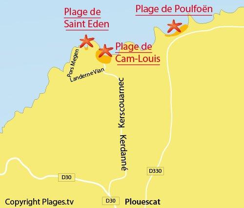 Carte de la plage de Saint Eden à Plouescat