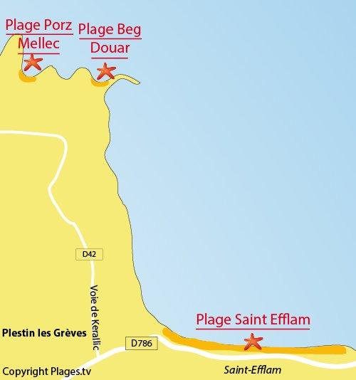 Carte de la plage de Saint Efflam à Plestin les Grèves