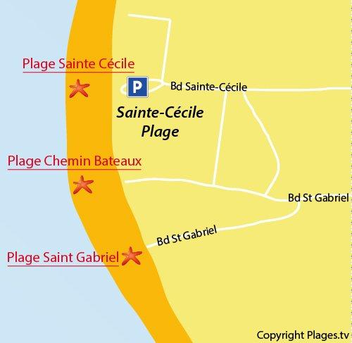 Carte de la plage de St Gabriel à Ste Cécile