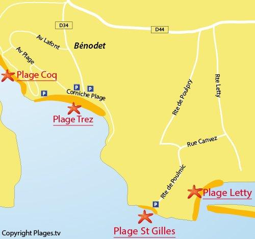 Carte de la plage de Saint Gilles à Bénodet