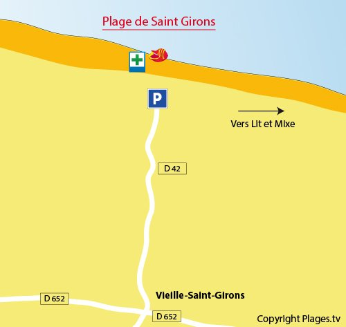 Map of Saint Girons Beach in France