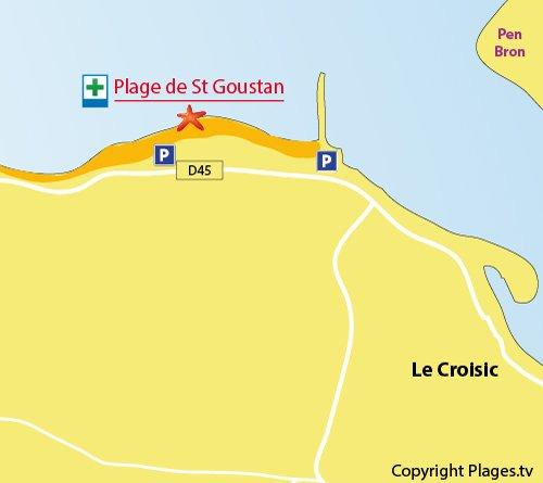 Map of Saint Goustan Beach  - Le Croisic