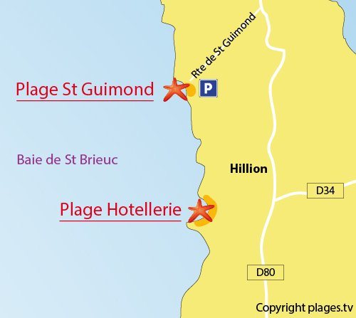 Carte de la plage de St Guimond à Hillion