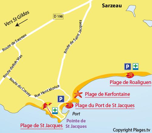 Carte de la plage de St Jacques à Sarzeau