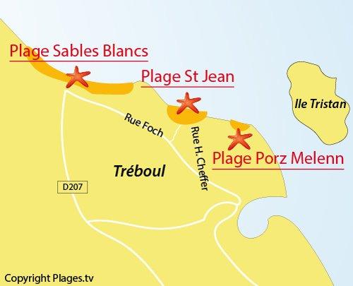 Carte de la plage Saint Jean à Douarnenez