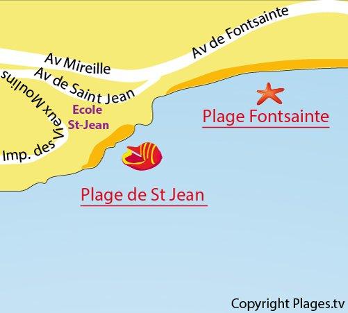 Carte de la plage St Jean à La Ciotat