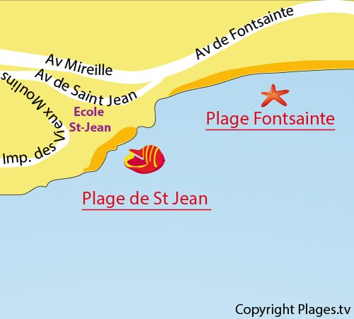 Map of the Saint Jean Beach in La Ciotat