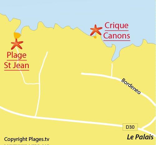 Carte de la plage de Port Jean à Belle Ile