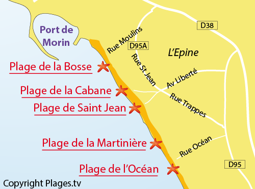 Map of Saint Jean beach in Noirmoutier - l'Epine