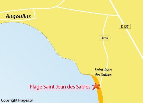 Carte de la plage de St Jean des Sables à Angoulins