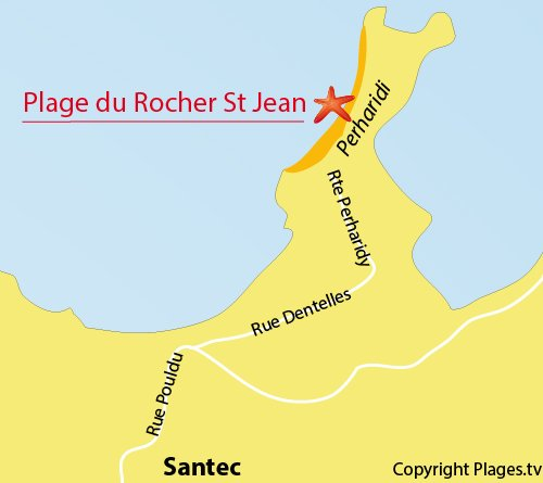 Map of Rocher Saint Jean Beach in Santec