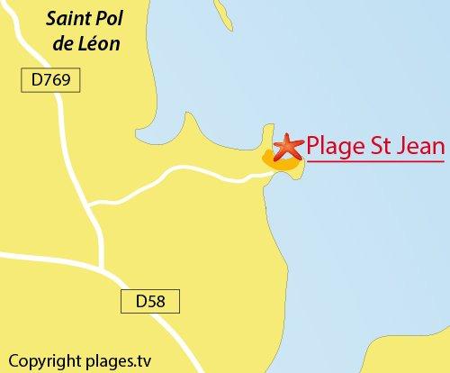 Carte de la plage de St Jean à St Pol de Léon