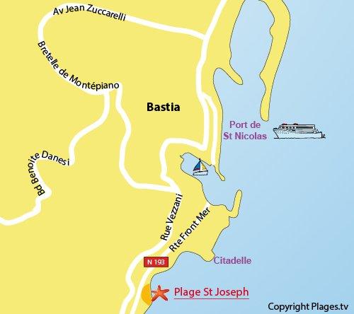 Mappa della Spiaggia Saint Joseph a Bastia