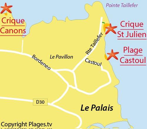 Carte de la plage de Saint Julien à Belle Ile