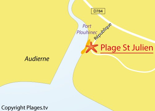 Carte de la plage de St Julien à Plouhinec